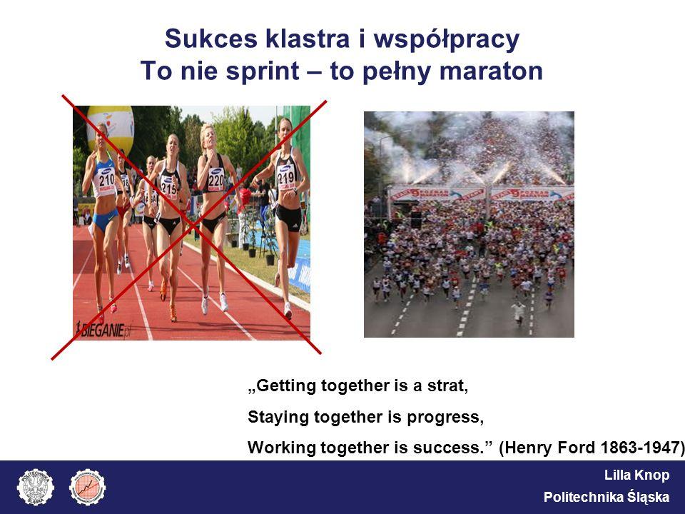 Lilla Knop Politechnika Śląska Sukces klastra i współpracy To nie sprint – to pełny maraton Getting together is a strat, Staying together is progress,