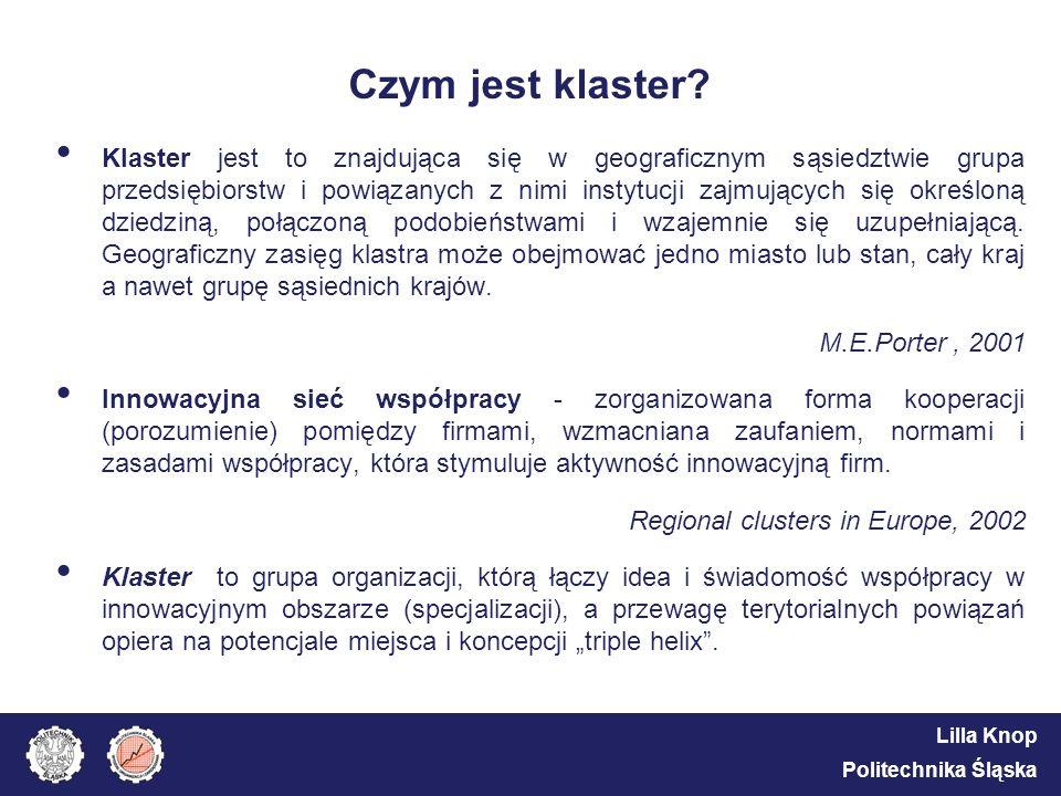 Lilla Knop Politechnika Śląska Czym jest klaster? Klaster jest to znajdująca się w geograficznym sąsiedztwie grupa przedsiębiorstw i powiązanych z nim