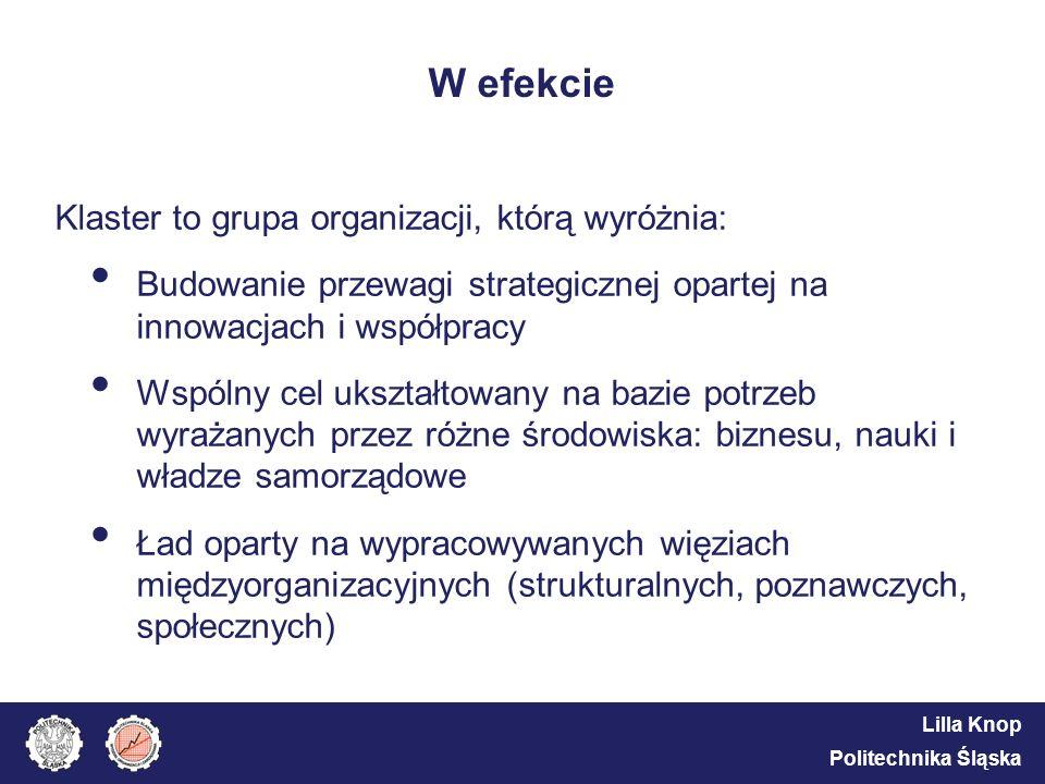 Lilla Knop Politechnika Śląska W efekcie Klaster to grupa organizacji, którą wyróżnia: Budowanie przewagi strategicznej opartej na innowacjach i współ