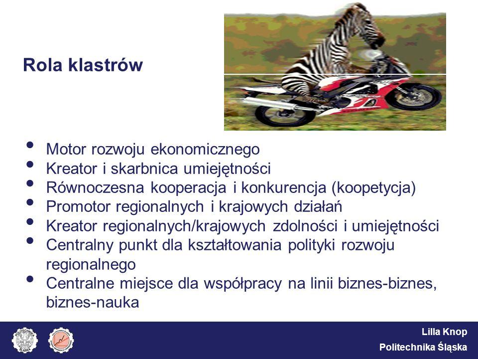 Lilla Knop Politechnika Śląska Rola klastrów Motor rozwoju ekonomicznego Kreator i skarbnica umiejętności Równoczesna kooperacja i konkurencja (koopet