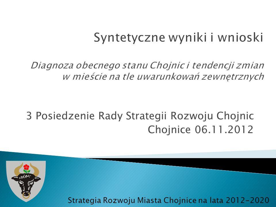 3 Posiedzenie Rady Strategii Rozwoju Chojnic Chojnice 06.11.2012 Strategia Rozwoju Miasta Chojnice na lata 2012-2020