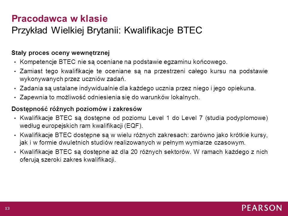 Pracodawca w klasie Przykład Wielkiej Brytanii: Kwalifikacje BTEC Kwalifikacje BTEC są najpopularniejszymi kwalifikacjami zawodowymi w Wielkiej Brytanii.