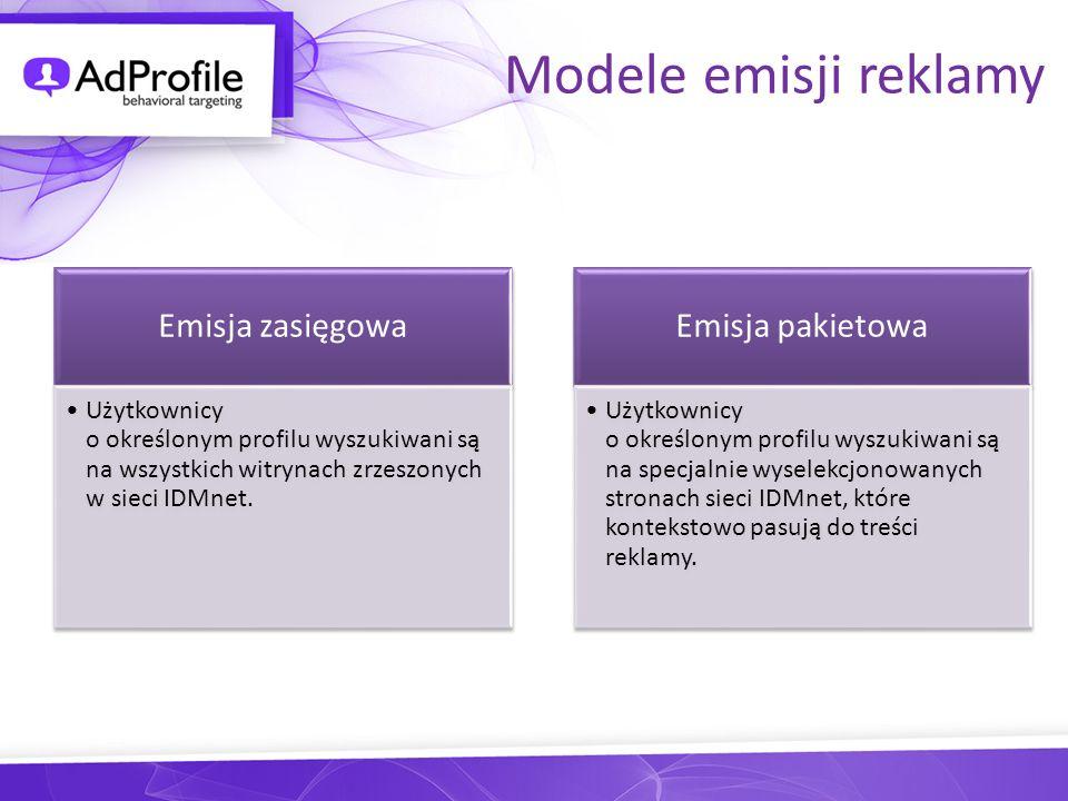 Modele emisji reklamy Emisja zasięgowa Użytkownicy o określonym profilu wyszukiwani są na wszystkich witrynach zrzeszonych w sieci IDMnet. Emisja paki