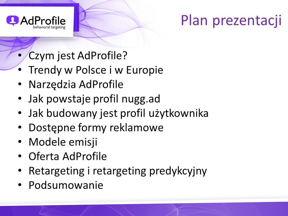 Plan prezentacji Czym jest AdProfile? Trendy w Polsce i w Europie Narzędzia AdProfile Jak powstaje profil nugg.ad Jak budowany jest profil użytkownika