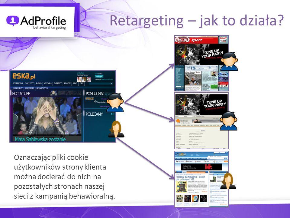 Oznaczając pliki cookie użytkowników strony klienta można docierać do nich na pozostałych stronach naszej sieci z kampanią behawioralną. Retargeting –