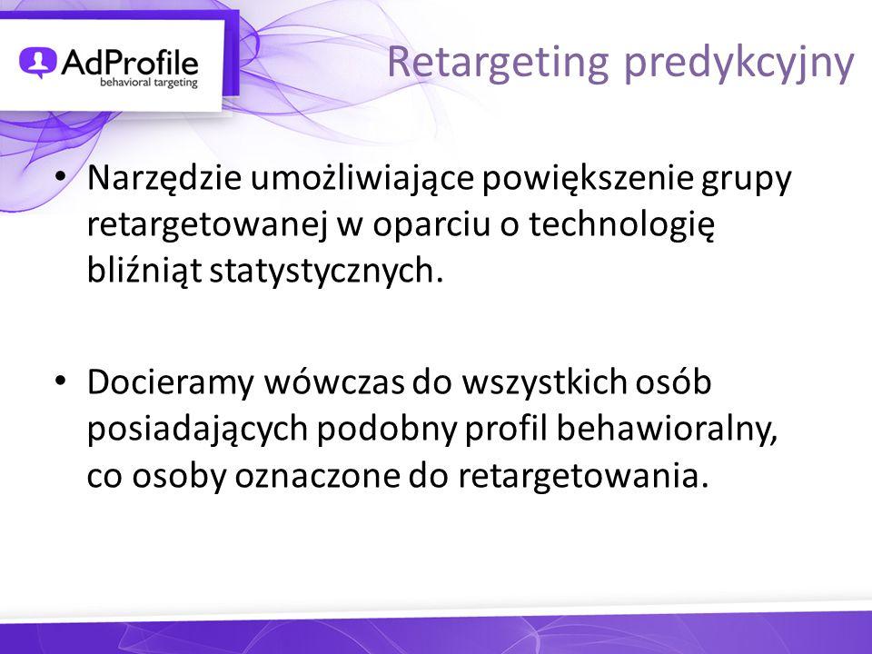 Narzędzie umożliwiające powiększenie grupy retargetowanej w oparciu o technologię bliźniąt statystycznych. Docieramy wówczas do wszystkich osób posiad
