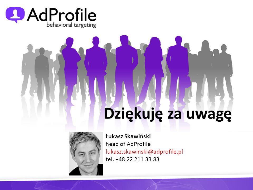 Dziękuję za uwagę Łukasz Skawiński head of AdProfile lukasz.skawinski@adprofile.pl tel. +48 22 211 33 83