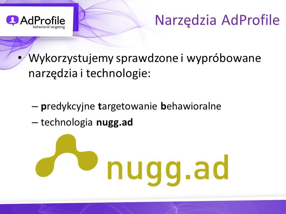 Narzędzia AdProfile Wykorzystujemy sprawdzone i wypróbowane narzędzia i technologie: – predykcyjne targetowanie behawioralne – technologia nugg.ad