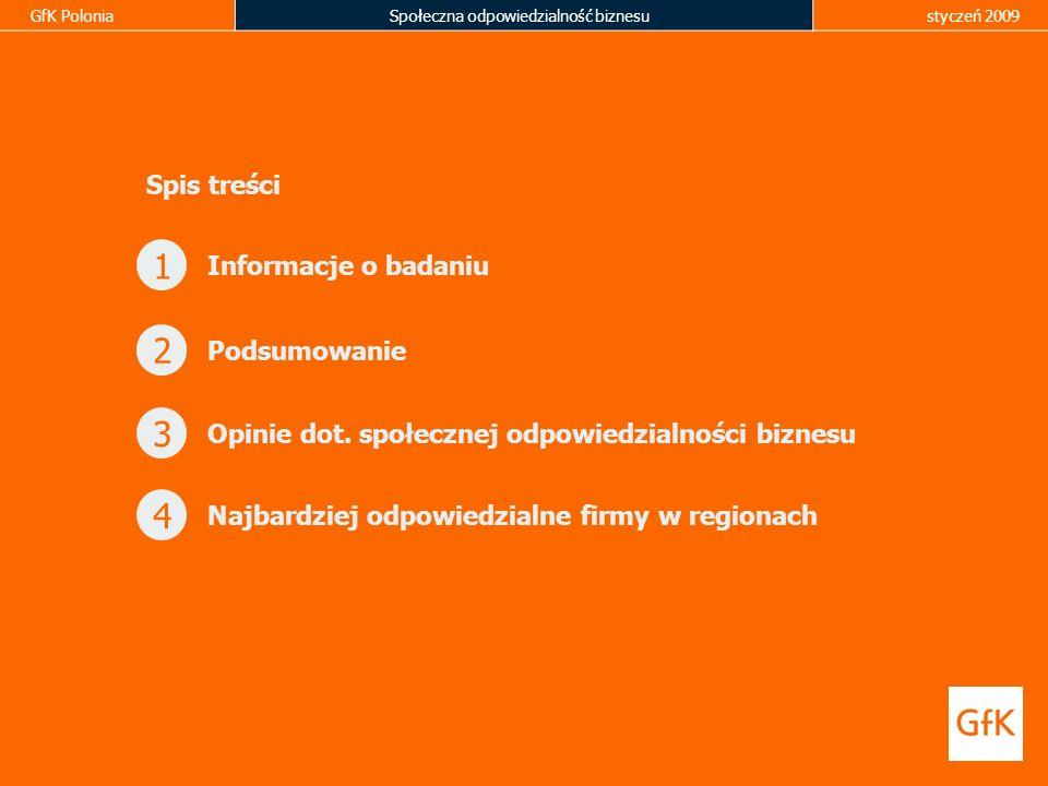 GfK PoloniaSpołeczna odpowiedzialność biznesustyczeń 2009 1 Informacje o badaniu Podsumowanie 2 Opinie dot. społecznej odpowiedzialności biznesu 3 Naj
