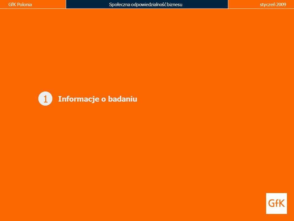 GfK PoloniaSpołeczna odpowiedzialność biznesustyczeń 2009 1 Informacje o badaniu