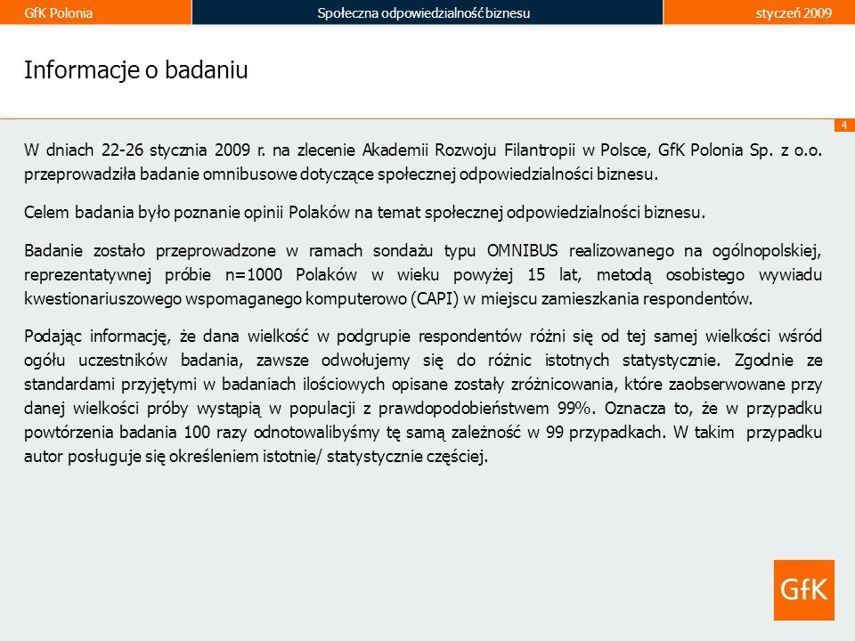 GfK PoloniaSpołeczna odpowiedzialność biznesustyczeń 2009 4 Informacje o badaniu W dniach 22-26 stycznia 2009 r. na zlecenie Akademii Rozwoju Filantro