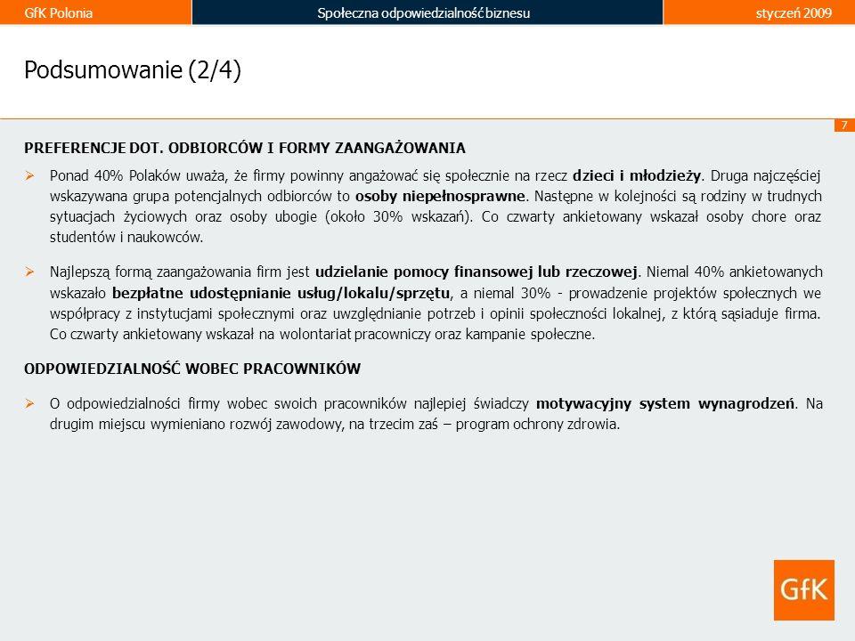 GfK PoloniaSpołeczna odpowiedzialność biznesustyczeń 2009 7 Podsumowanie (2/4) PREFERENCJE DOT. ODBIORCÓW I FORMY ZAANGAŻOWANIA Ponad 40% Polaków uważ