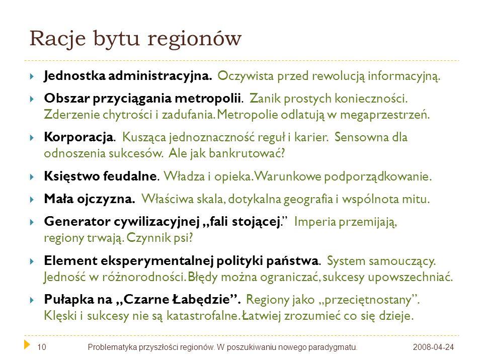 10 Racje bytu regionów Jednostka administracyjna. Oczywista przed rewolucją informacyjną. Obszar przyciągania metropolii. Zanik prostych konieczności.