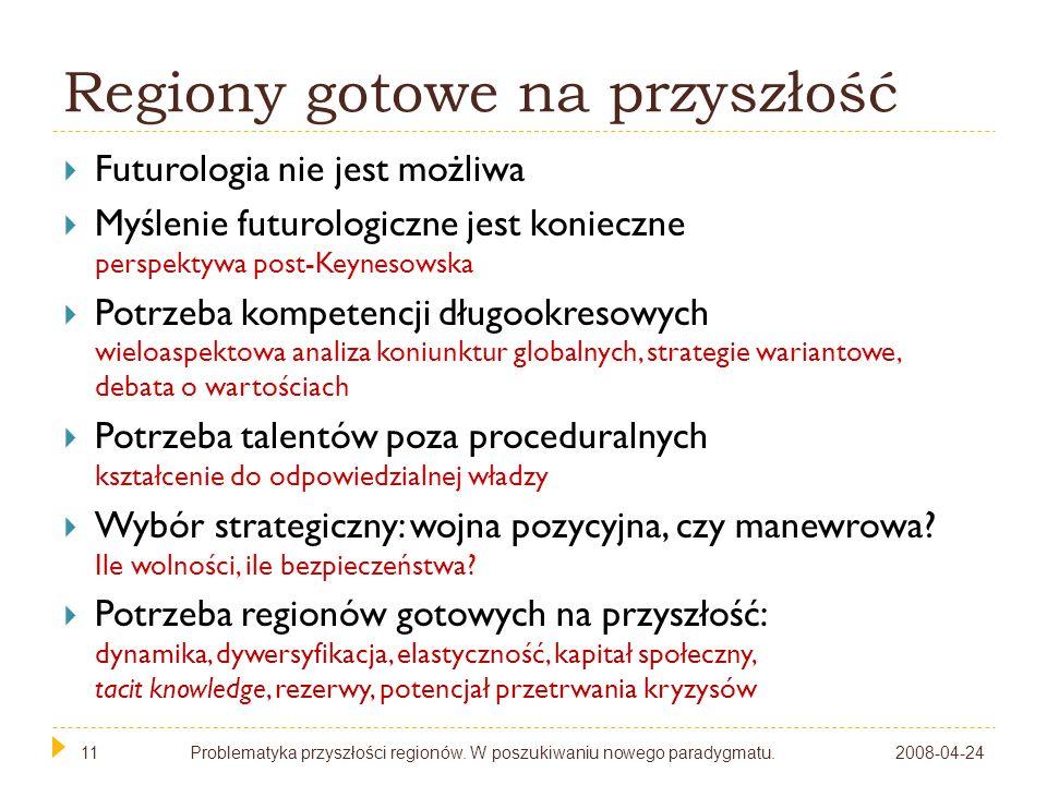 11 Regiony gotowe na przyszłość Futurologia nie jest możliwa Myślenie futurologiczne jest konieczne perspektywa post-Keynesowska Potrzeba kompetencji