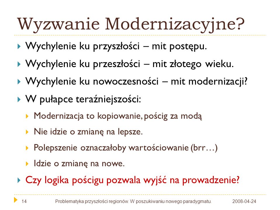 14 Wyzwanie Modernizacyjne? 2008-04-24Problematyka przyszłości regionów. W poszukiwaniu nowego paradygmatu.14 Wychylenie ku przyszłości – mit postępu.