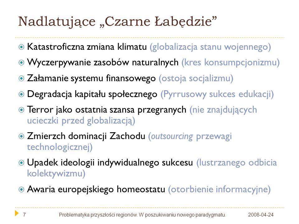 7 Nadlatujące Czarne Łabędzie 2008-04-24Problematyka przyszłości regionów. W poszukiwaniu nowego paradygmatu.7 Katastroficzna zmiana klimatu (globaliz