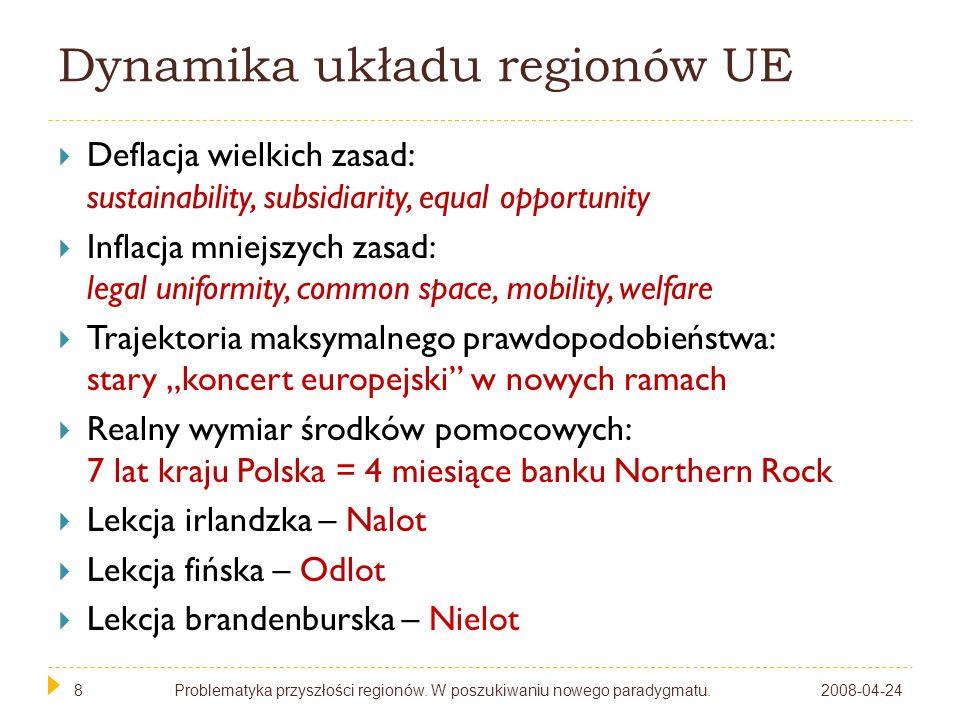 9 Wymiary polityki regionalnej Real politik EU chce dawać środki regionom samorządowym Państwo chce przejmować te środki Regiony powstają.