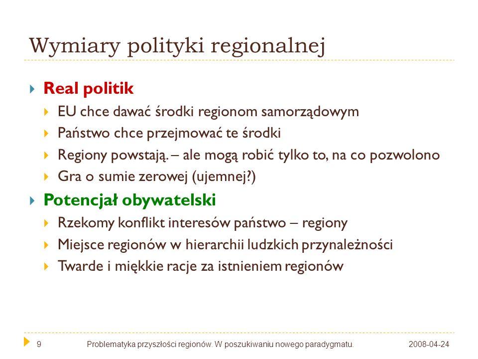 9 Wymiary polityki regionalnej Real politik EU chce dawać środki regionom samorządowym Państwo chce przejmować te środki Regiony powstają. – ale mogą