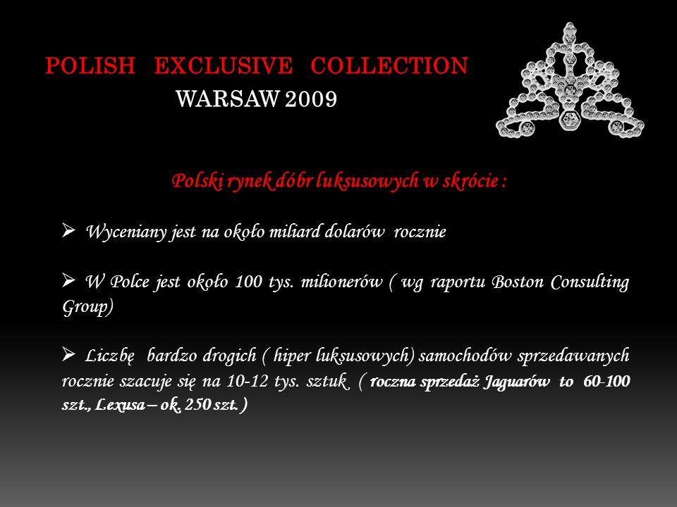 Polski rynek dóbr luksusowych w skrócie : POLISH EXCLUSIVE COLLECTION WARSAW 2009 Wyceniany jest na około miliard dolarów rocznie W Polce jest około 100 tys.