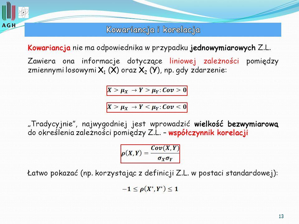 13 Kowariancja nie ma odpowiednika w przypadku jednowymiarowych Z.L. Zawiera ona informacje dotyczące liniowej zależności pomiędzy zmiennymi losowymi