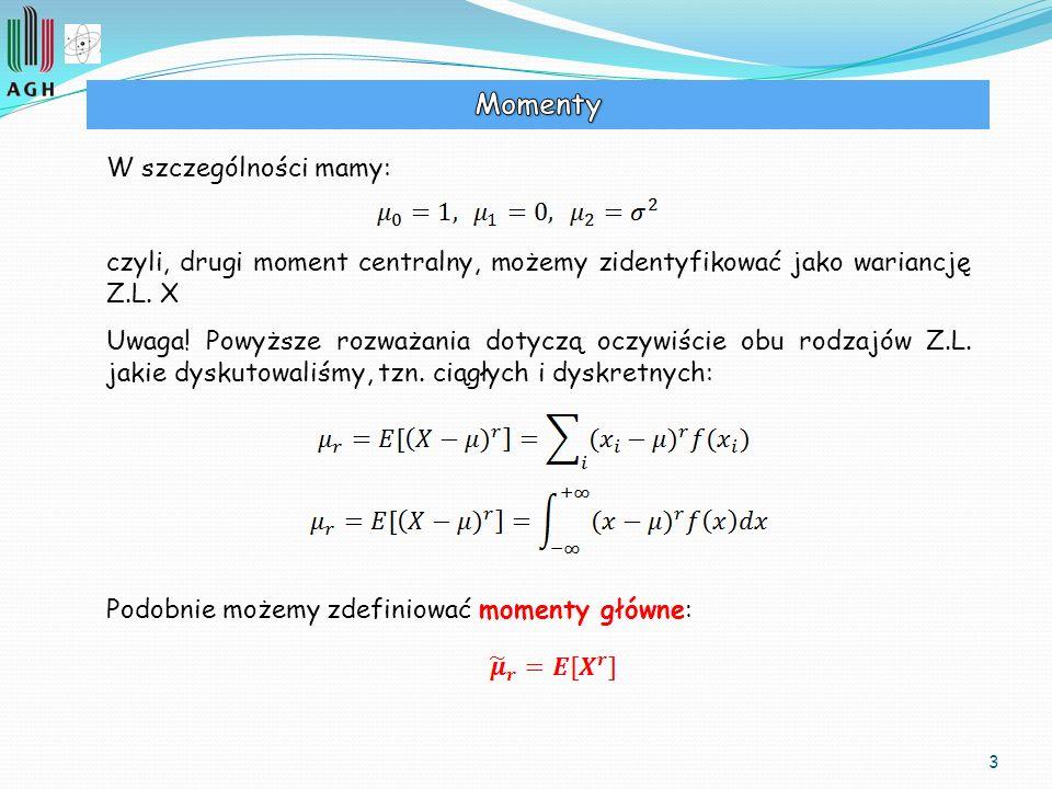 3 W szczególności mamy: czyli, drugi moment centralny, możemy zidentyfikować jako wariancję Z.L. X Uwaga! Powyższe rozważania dotyczą oczywiście obu r