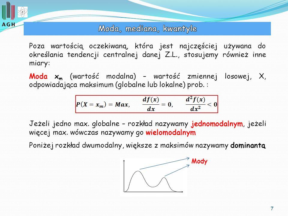 7 Poza wartością oczekiwaną, która jest najczęściej używana do określania tendencji centralnej danej Z.L., stosujemy również inne miary: Moda x m (war