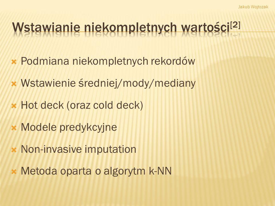 Zbiór danychKlasyfikatorAlgorytm genetycznyWbudowane mechanizmy klasyfikatorów WEKA Hepatitis25C4.50,82390,8258 Hepatitis25MLP0,83160,7928 Hepatitis25SVM0,84650,8506 Hepatitis50C4.50,84520,7885 Hepatitis50MLP0,83230,7399 Hepatitis50SVM0,83290,8254 Jakub Wojtczak