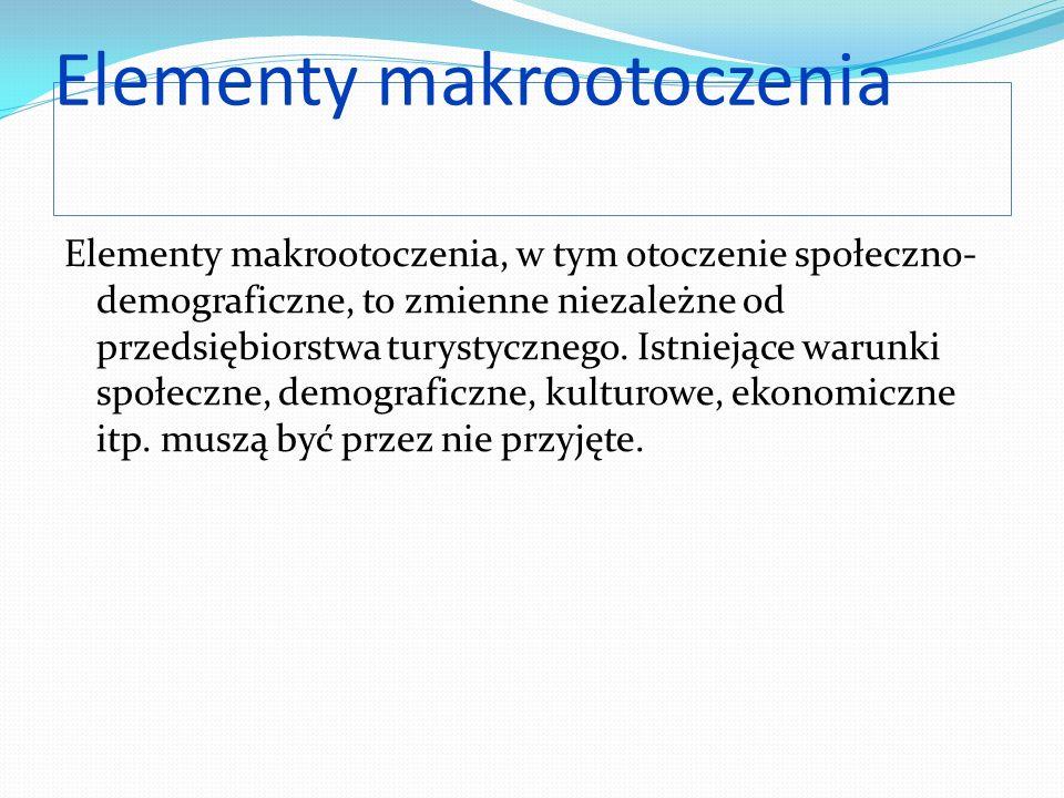 Elementy makrootoczenia Elementy makrootoczenia, w tym otoczenie społeczno- demograficzne, to zmienne niezależne od przedsiębiorstwa turystycznego. Is
