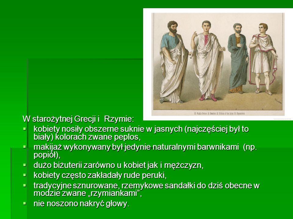 W starożytnej Grecji i Rzymie: kobiety nosiły obszerne suknie w jasnych (najczęściej był to biały) kolorach zwane peplos, kobiety nosiły obszerne sukn
