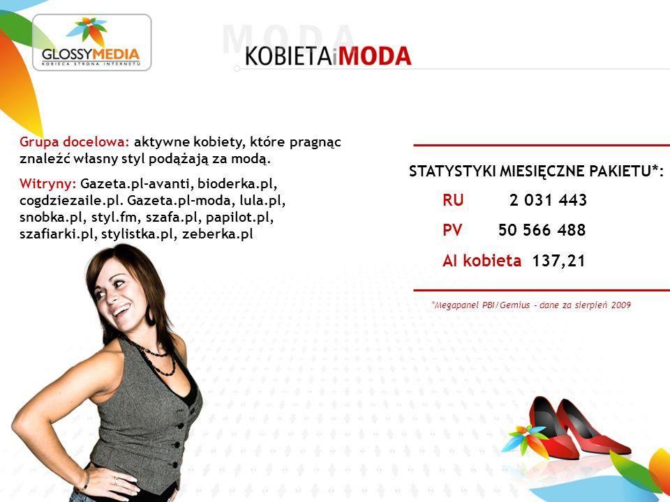 *Megapanel PBI/Gemius – dane za sierpień 2009 RU 2 031 443 PV 50 566 488 AI kobieta 137,21 STATYSTYKI MIESIĘCZNE PAKIETU*: Grupa docelowa: aktywne kobiety, które pragnąc znaleźć własny styl podążają za modą.