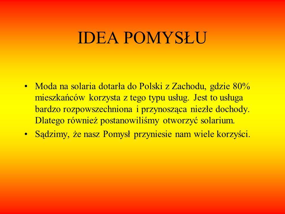 IDEA POMYSŁU Moda na solaria dotarła do Polski z Zachodu, gdzie 80% mieszkańców korzysta z tego typu usług. Jest to usługa bardzo rozpowszechniona i p