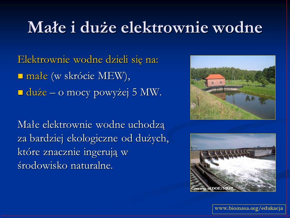 Małe i duże elektrownie wodne Elektrownie wodne dzieli się na: małe (w skrócie MEW), małe (w skrócie MEW), duże – o mocy powyżej 5 MW.