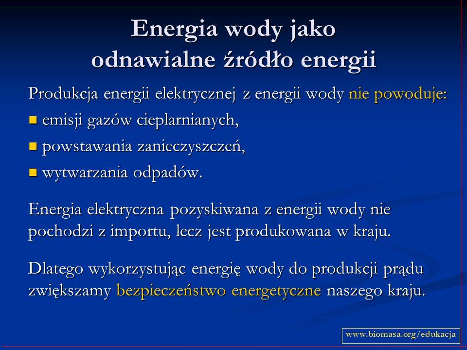 Energia wody jako odnawialne źródło energii Produkcja energii elektrycznej z energii wody nie powoduje: emisji gazów cieplarnianych, emisji gazów cieplarnianych, powstawania zanieczyszczeń, powstawania zanieczyszczeń, wytwarzania odpadów.