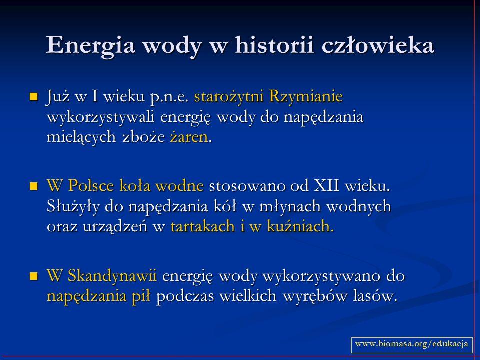 Energia wody w energetyce Przełom w wykorzystywaniu energii wody nastąpił gdy w początkach XIX wieku wynaleziono turbinę wodną.
