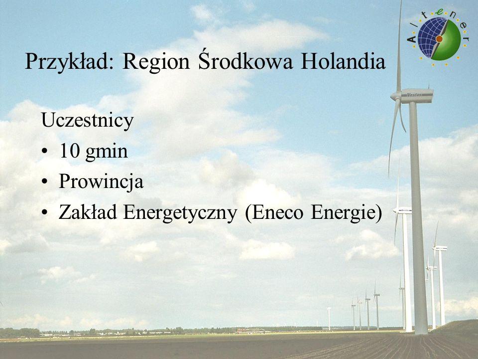 Przykład: Region Środkowa Holandia Uczestnicy 10 gmin Prowincja Zakład Energetyczny (Eneco Energie)