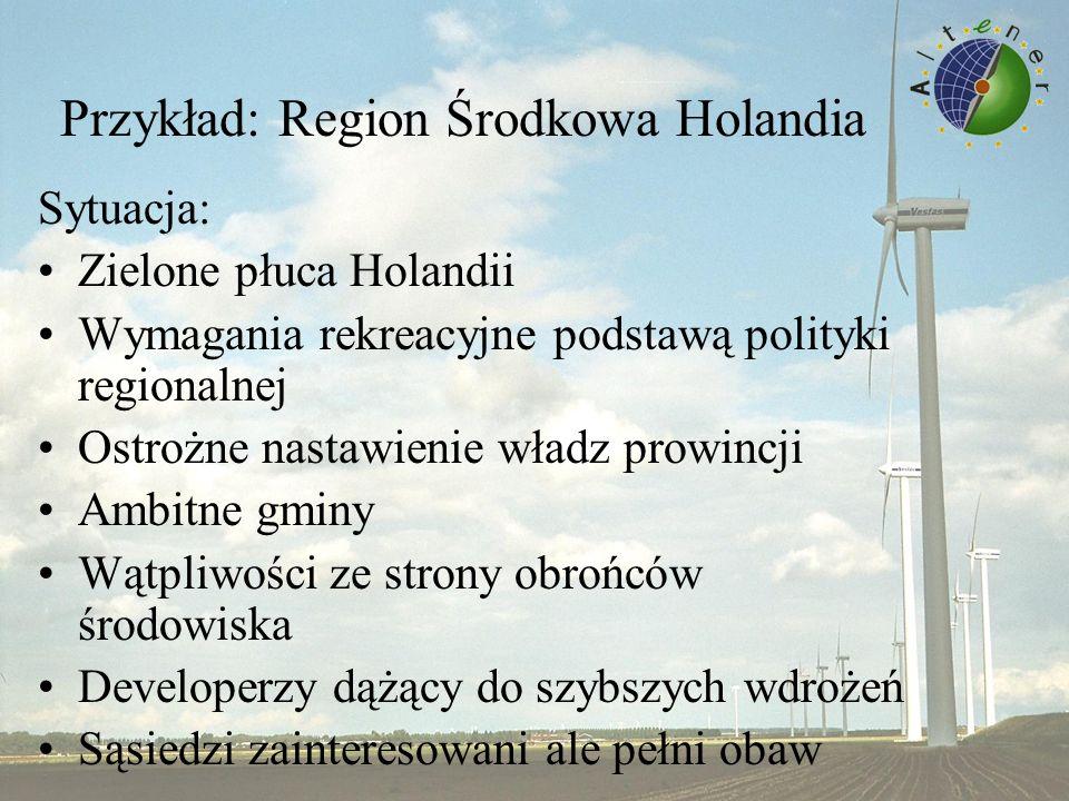 Przykład: Region Środkowa Holandia Sytuacja: Zielone płuca Holandii Wymagania rekreacyjne podstawą polityki regionalnej Ostrożne nastawienie władz prowincji Ambitne gminy Wątpliwości ze strony obrońców środowiska Developerzy dążący do szybszych wdrożeń Sąsiedzi zainteresowani ale pełni obaw