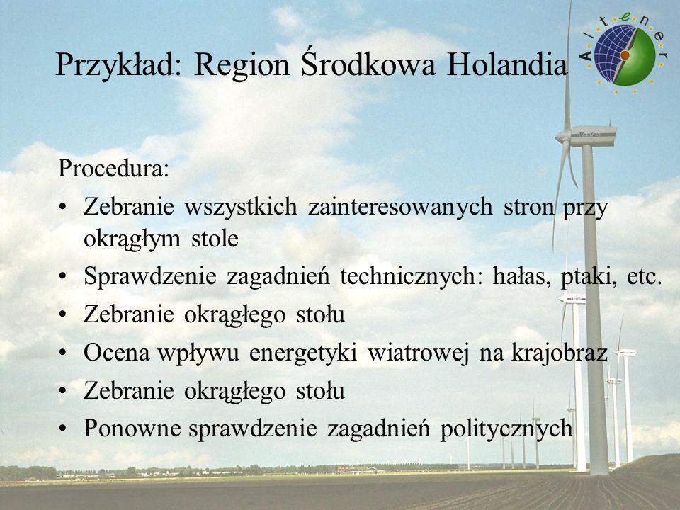 Przykład: Region Środkowa Holandia Procedura: Zebranie wszystkich zainteresowanych stron przy okrągłym stole Sprawdzenie zagadnień technicznych: hałas, ptaki, etc.