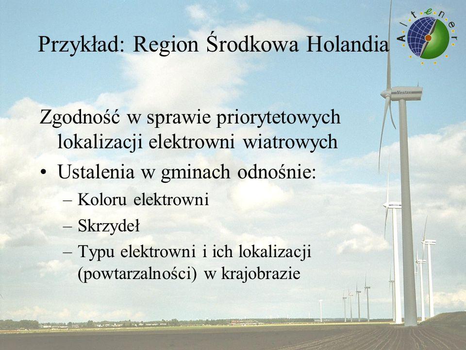 Przykład: Region Środkowa Holandia Zgodność w sprawie priorytetowych lokalizacji elektrowni wiatrowych Ustalenia w gminach odnośnie: –Koloru elektrowni –Skrzydeł –Typu elektrowni i ich lokalizacji (powtarzalności) w krajobrazie