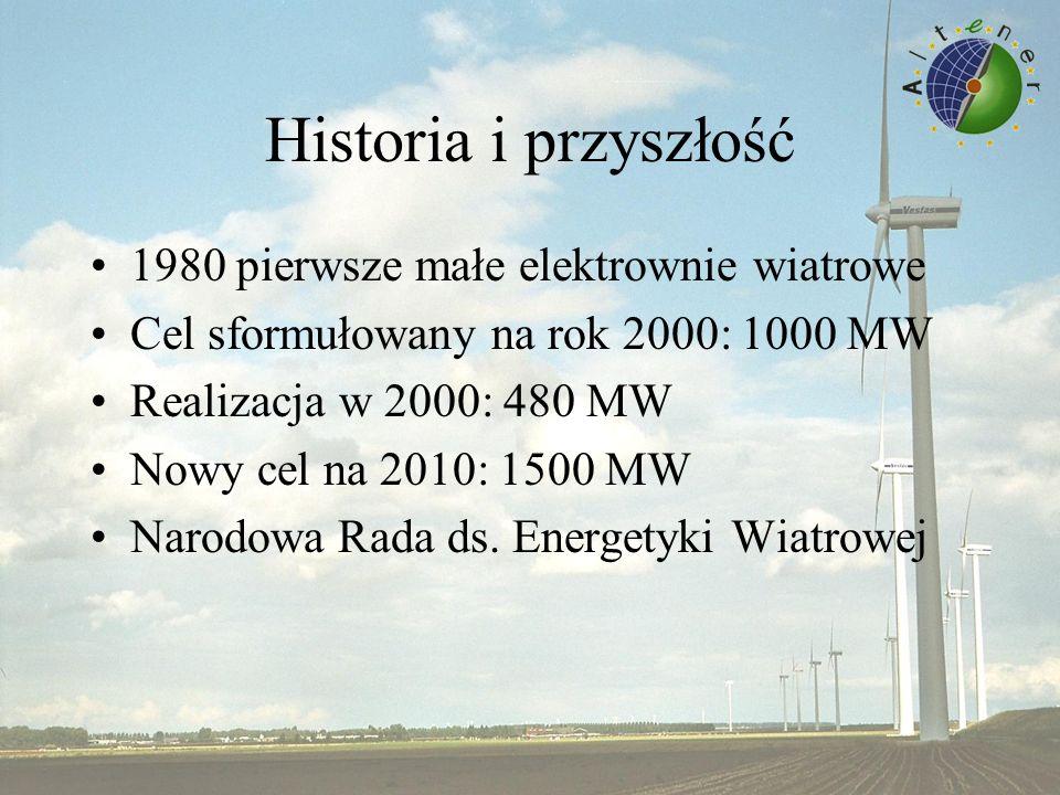 Historia i przyszłość 1980 pierwsze małe elektrownie wiatrowe Cel sformułowany na rok 2000: 1000 MW Realizacja w 2000: 480 MW Nowy cel na 2010: 1500 MW Narodowa Rada ds.