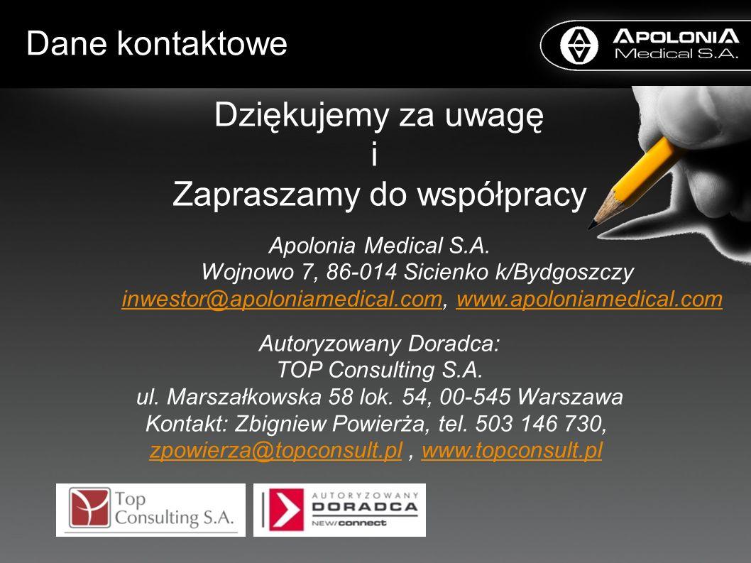 Dane kontaktowe Dziękujemy za uwagę i Zapraszamy do współpracy Apolonia Medical S.A. Wojnowo 7, 86-014 Sicienko k/Bydgoszczy inwestor@apoloniamedical.