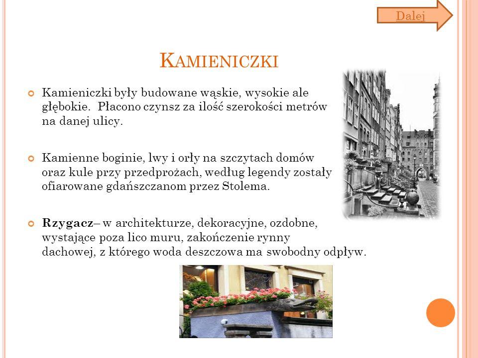 K AMIENICZKI Kamieniczki były budowane wąskie, wysokie ale głębokie. Płacono czynsz za ilość szerokości metrów na danej ulicy. Kamienne boginie, lwy i