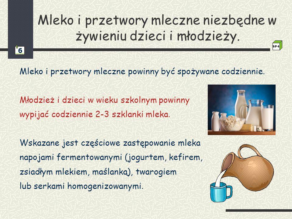 Mleko i przetwory mleczne niezbędne w żywieniu dzieci i młodzieży. Mleko i przetwory mleczne powinny być spożywane codziennie. Młodzież i dzieci w wie