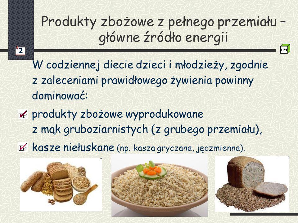 Produkty zbożowe z pełnego przemiału – główne źródło energii W codziennej diecie dzieci i młodzieży, zgodnie z zaleceniami prawidłowego żywienia powin