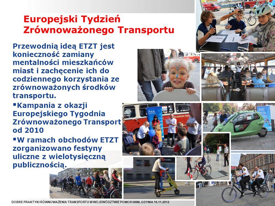 DOBRE PRAKTYKI RÓWNOWAŻENIA TRANSPORTU W WOJEWÓDZTWIE POMORSKIM, GDYNIA 16.11.2012 Reklama i Promocja RoweRowe Piątki Coroczna organizowana od 2010 r.