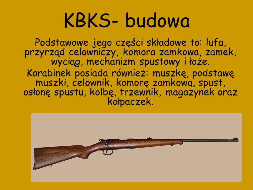 KBKS- budowa Podstawowe jego części składowe to: lufa, przyrząd celowniczy, komora zamkowa, zamek, wyciąg, mechanizm spustowy i łoże. Karabinek posiad