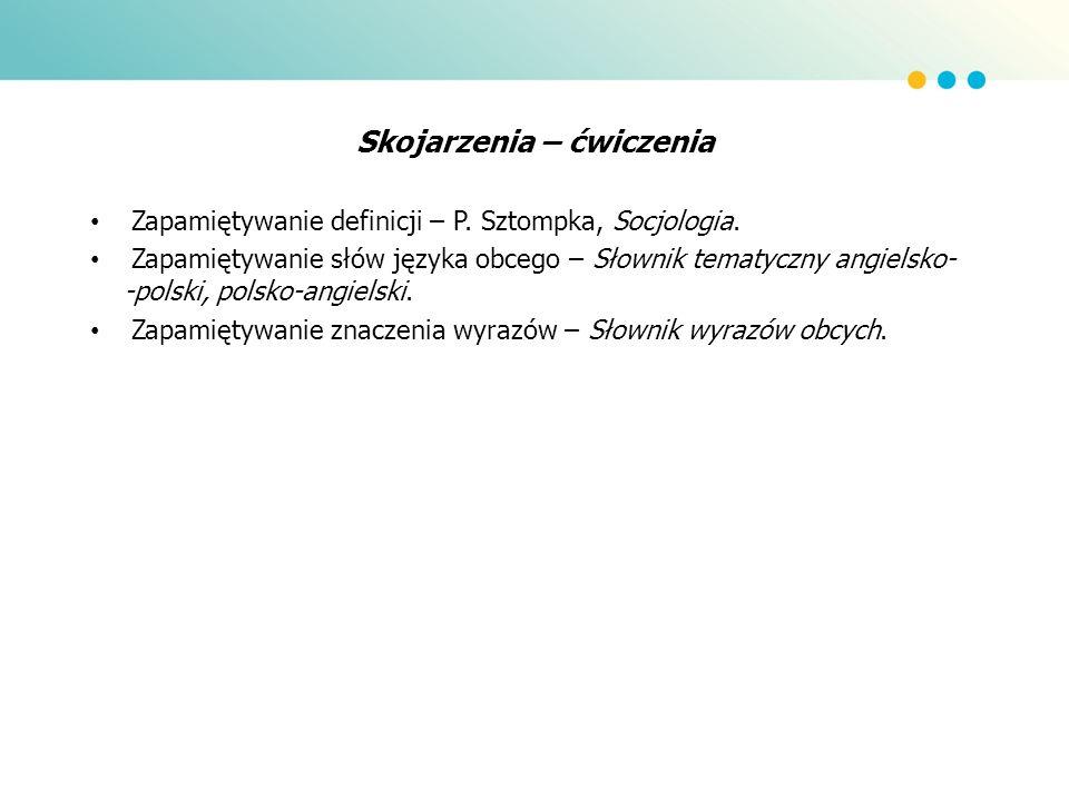 Skojarzenia – ćwiczenia Zapamiętywanie definicji – P. Sztompka, Socjologia. Zapamiętywanie słów języka obcego – Słownik tematyczny angielsko- -polski,