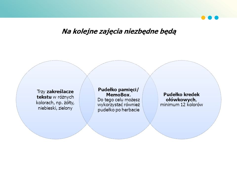 Na kolejne zajęcia niezbędne będą Trzy zakreślacze tekstu w różnych kolorach, np. żółty, niebieski, zielony Pudełko pamięci/ MemoBox. Do tego celu moż