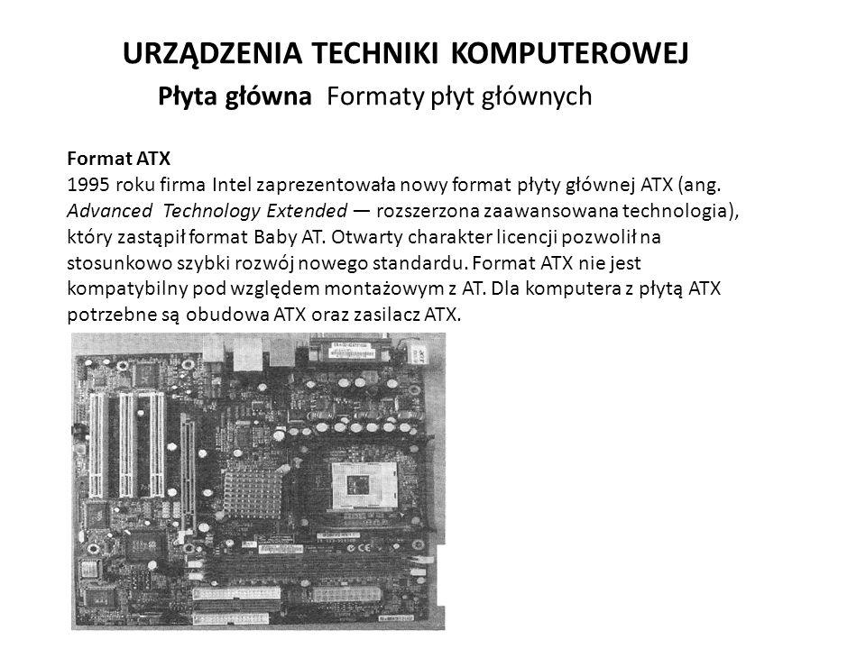 URZĄDZENIA TECHNIKI KOMPUTEROWEJ Format ATX 1995 roku firma Intel zaprezentowała nowy format płyty głównej ATX (ang. Advanced Technology Extended rozs