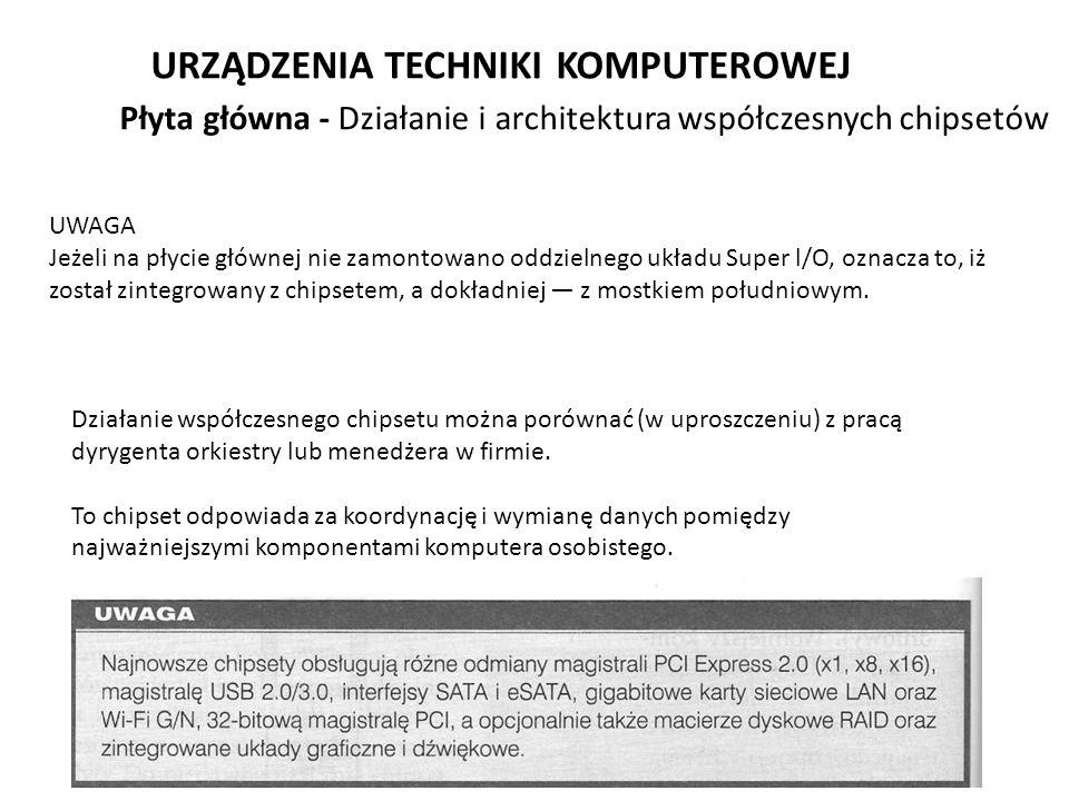 URZĄDZENIA TECHNIKI KOMPUTEROWEJ UWAGA Jeżeli na płycie głównej nie zamontowano oddzielnego układu Super l/O, oznacza to, iż został zintegrowany z chi
