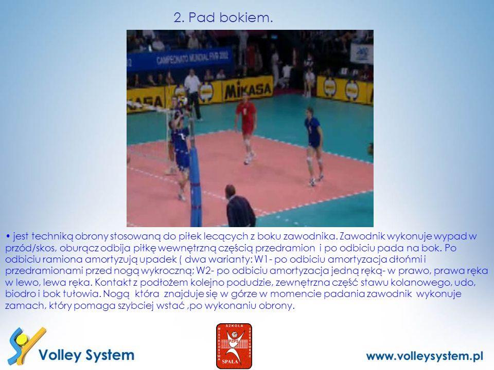 2. Pad bokiem. jest techniką obrony stosowaną do piłek lecących z boku zawodnika. Zawodnik wykonuje wypad w przód/skos, oburącz odbija piłkę wewnętrzn